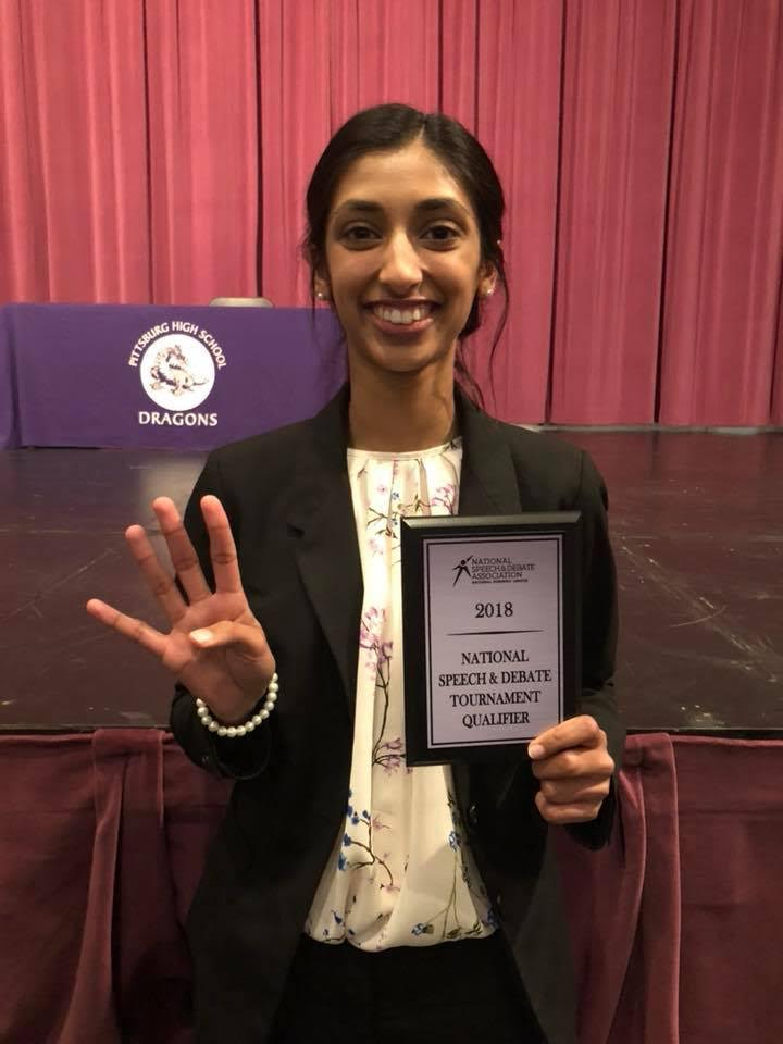 Gina Mathew is the first person in PHS school history to qualify for the National Speech and Debate Tournament four years in a row.