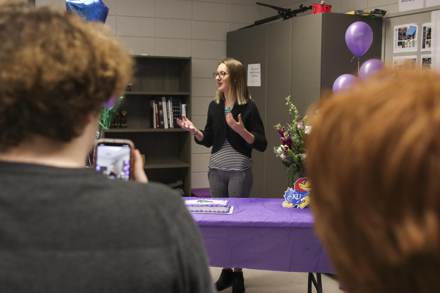Senior Nicole Konopelko gives remarks in student publications adviser Emily Smith's classroom at a a ceremony on the afternoon of Feb. 20 in which Konopelko was honored for winning Kansas Student Journalist of the Year.