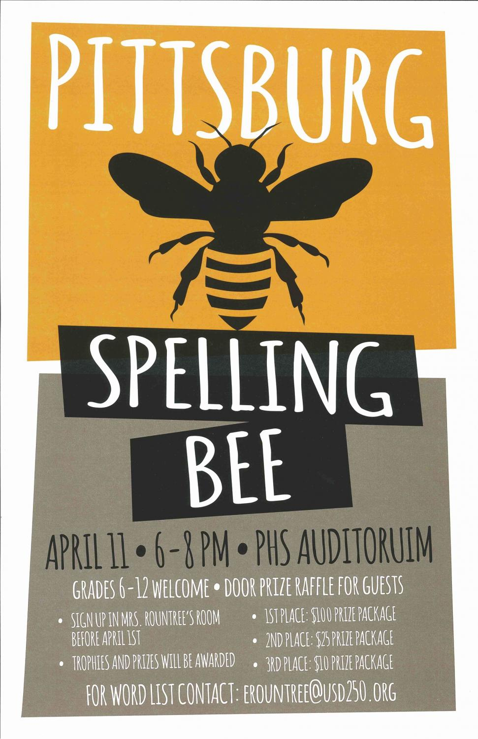 Book Club will host its first ever spelling bee and advertise with flyers shown above. These flyers were designed by junior Dain Reiling.