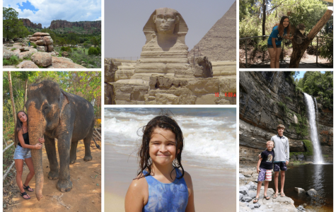 Above are student's contributed photos of the places they've been from around the globe. Some of these students include freshman Raven King, junior Laken Robinson and freshman Seth Gann.