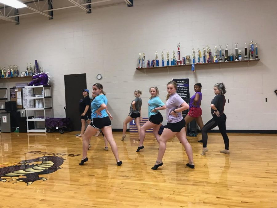 The dance team practicing their routine in the morning.  PHOTO BY SARAH ALCANTAR