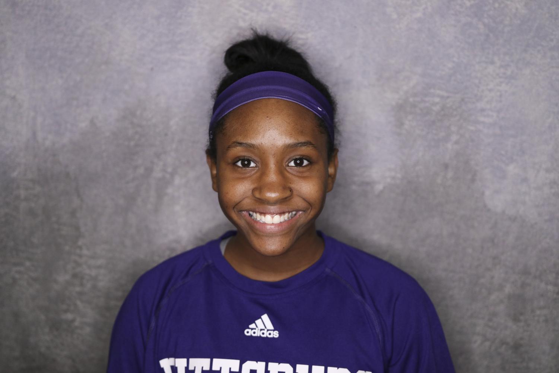 Freshman volleyball player Alaycia Harris