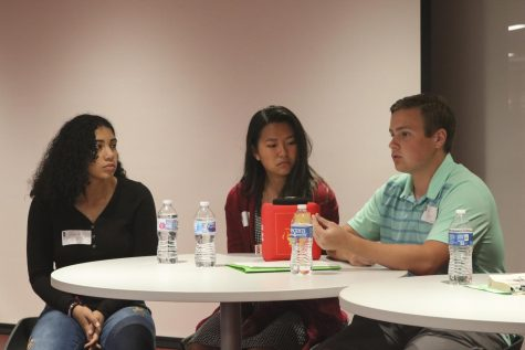 Sophomores Shi Ross, Joy Lee and Owen Miller speak at Pitt State