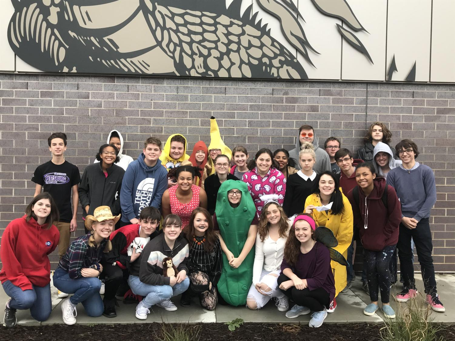Drama Club participates in a an annual event called Trick or Treat So Kids Can Eat to . collect community food donations for Wesley House.