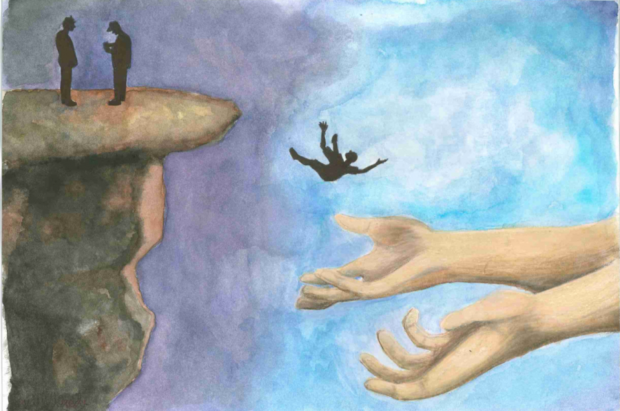 Art by Audrey Goode, which depicts a student jumping into open arms of help.