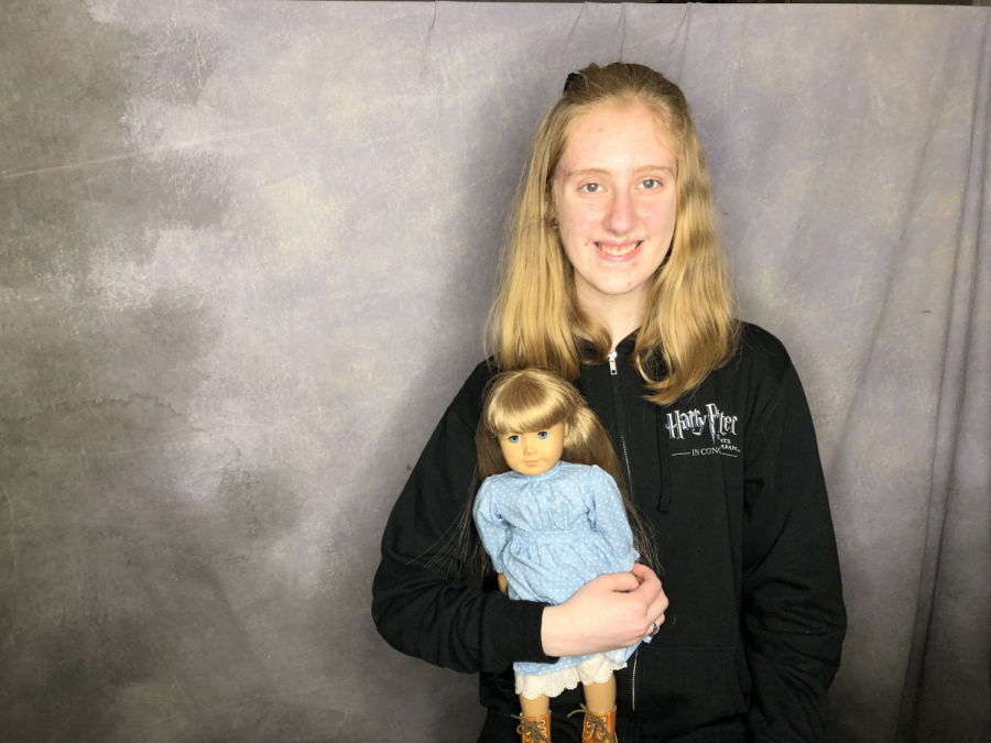 Sophomore Kassi Burns poses with her first American Girl Doll.