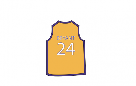 Above is Art of Kobe Bryant's jersey by Mattie Vacca. Kobe played for the Lakers for over 20 years.