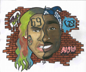 This piece from senior Grace Puckett showcases two conflicting sides of hip-hop: lyrical and mumble. The left half of the face is  modern rapper 6ix9ine while the right is legendary rapper 2Pac.