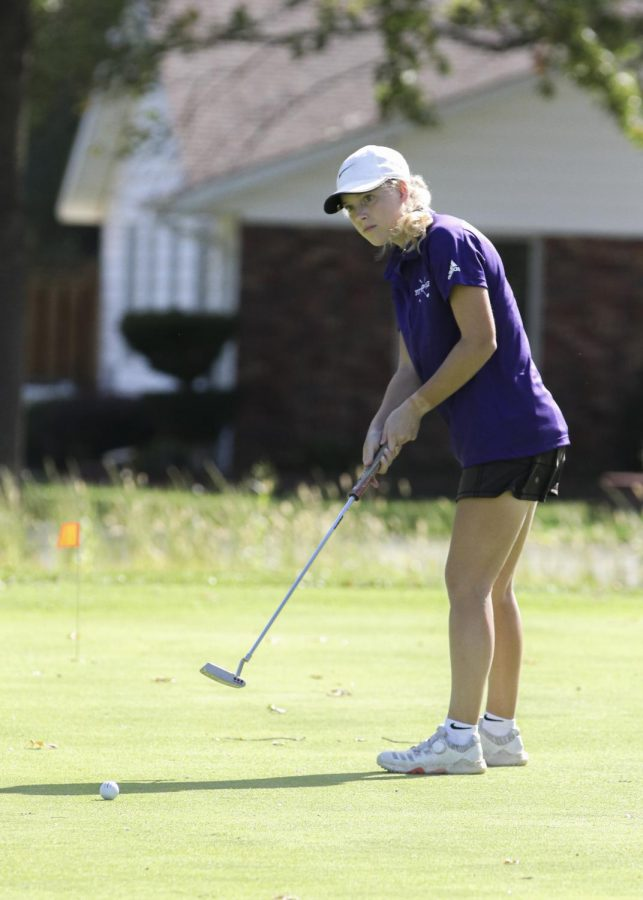 Senior Sam Maceli competes at Crestwood Country Club during the home tournament.
