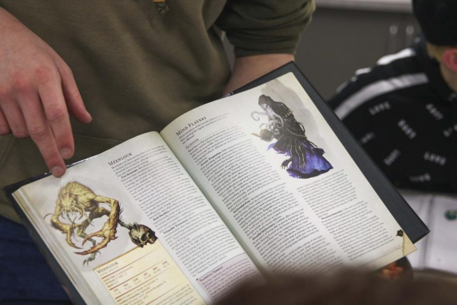 Featured above is the Dungeons and Dragons guide that the club uses with their games.