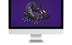 Computer displaying DragonNet art