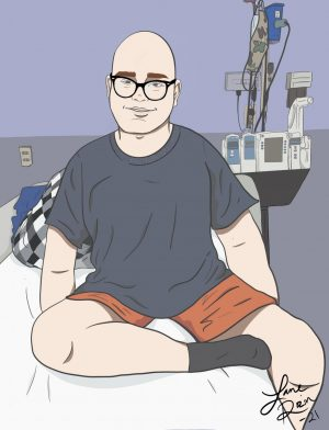 Above is an illustration of sophomore Ethan Rosenstiel who is currently battling leukemia at Children's Mercy Hospital in Kansas City, MO.