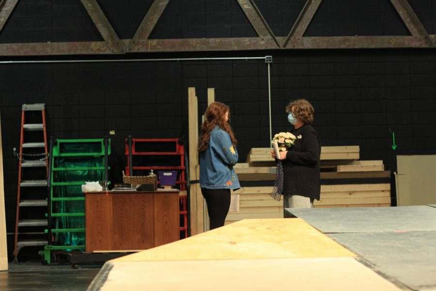Students helping on the set of Macbeth.( Right to Left: Ben Shawn and Sophie Casper)