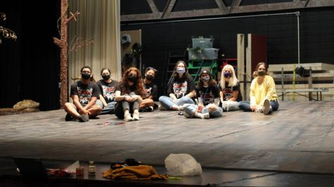 Rep Theater class on stage  for class. (Left to right: Will Williams, Ashley Singh, Sophie Casper, Aunyx Estes, Corin Cooper, Ella Rhuems, Mallory Womeldorff, and Kate Thueson)
