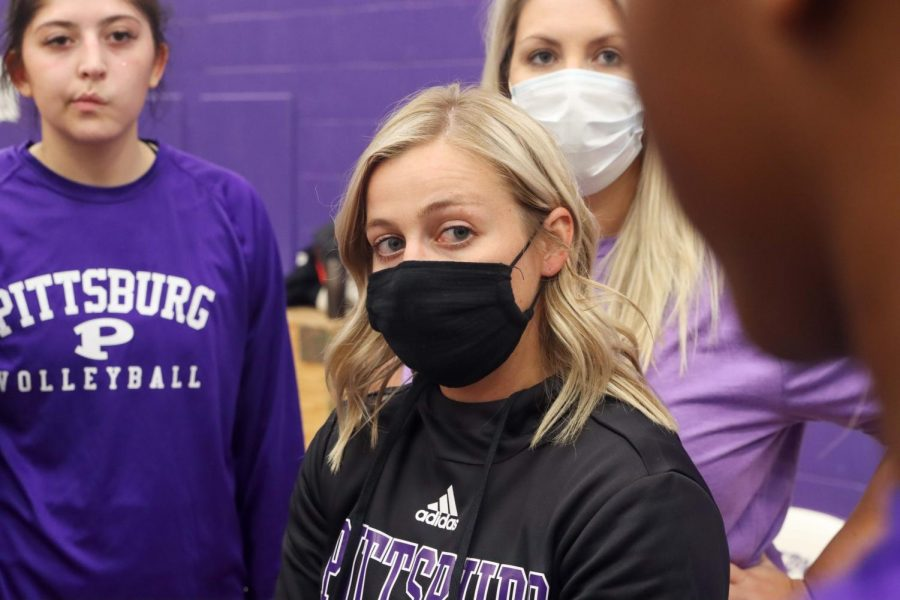 Head coach Ashlen Riggs listens to her players.